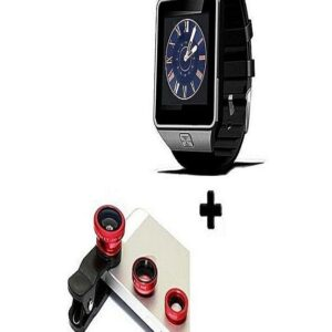 3 In 1 Mobile Clip Lens + Smart Bluetooth Watch Black