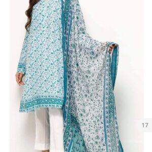 Printed Lawn 3 piece suit with lawn duppatta for girl Women