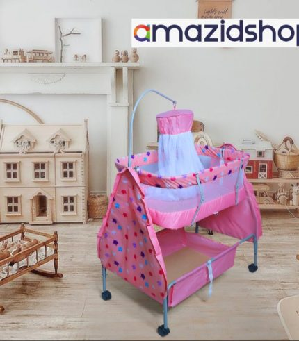 Baby Bed With Swing M88 In Metal Frame Cot & Cradle With Stand Support & Mosquito Net in Islamabad - Amazidshop, Pink
