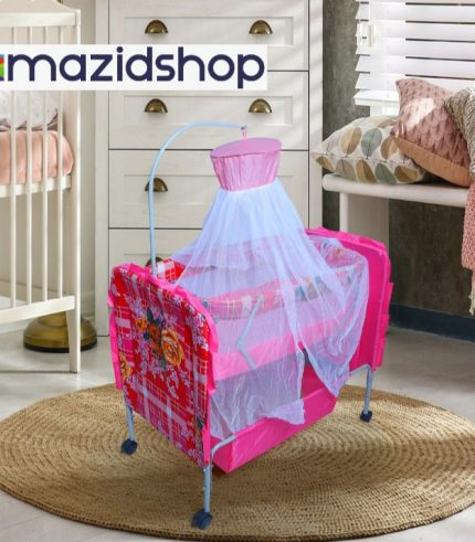 Baby Bed With Swing M7dx In Metal Frame Cot & Cradle With Stand Support & Mosquito Net - Pink, Amazidshop