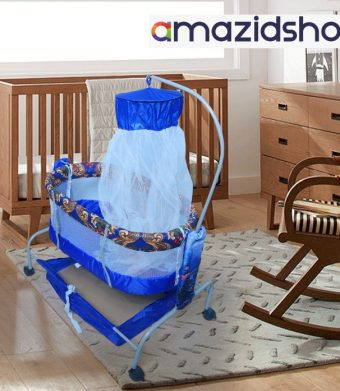 Baby Swing With Bed In Metal Frame Cot Cradle With Stand Support Mosquito Net in Peshwar - Amazidshop, Blue
