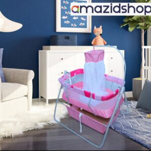 Baby swing cot cradle In Metal Frame Cot & Cradle With Stand Support & Mosquito Net - Amazidshop, pink