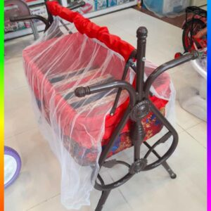 Baby Bed With Swing sorai In Metal Frame Cot & Cradle With Stand Support & Mosquito Net