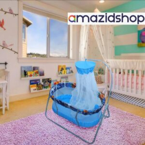 Baby Swing Cot & Cradle With Stand Support for baby - Amazidshop, Light Blue