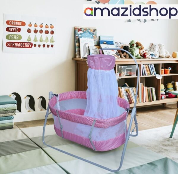 Baby Swing Cot & Cradle With Stand Support for baby - Amazidshop, Pink