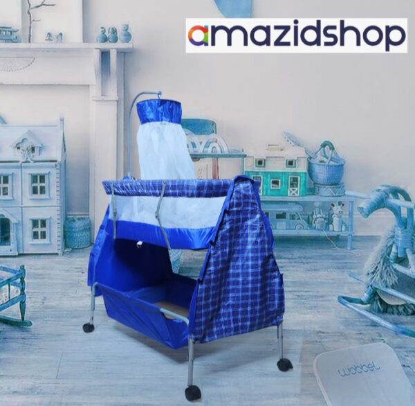 Baby Bed With Swing M88 In Metal Frame Cot & Cradle With Stand Support & Mosquito Net in Islamabad - Amazidshop, Blue