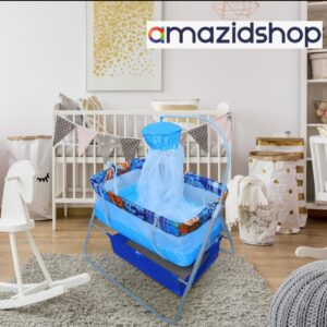 Baby swing cot cradle In Metal Frame Cot & Cradle With Stand Support & Mosquito Net - Amazidshop, Blue